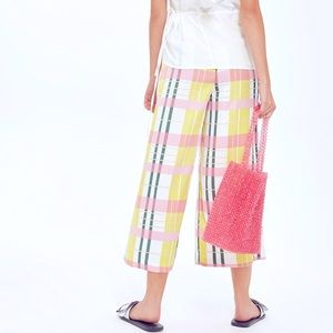 Top Shop Check Pattern Pink Yellow Crop Trousers